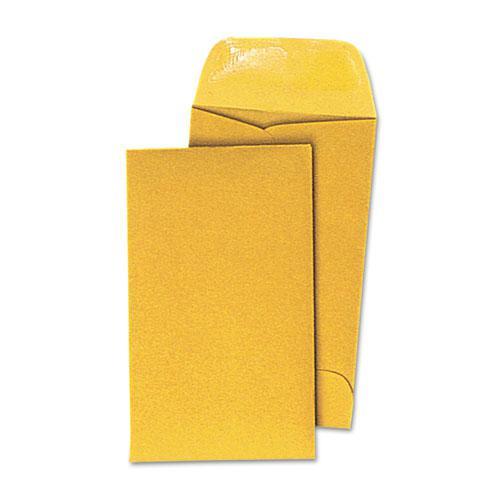 Kraft Coin Envelope, #3, Round Flap, Gummed Closure, 2.5 x 4.25, Light Brown Kraft, 500/Box. Picture 1