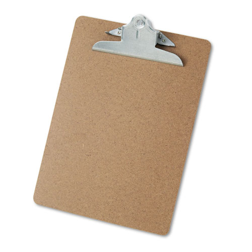 """Hardboard Clipboard, 1"""" Capacity, Holds 8 1/2 x 11, Brown. Picture 1"""