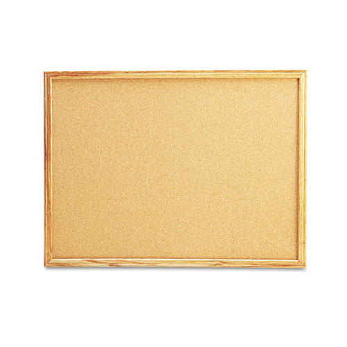 Cork Board with Oak Style Frame, 24 x 18, Natural, Oak-Finished Frame. Picture 1