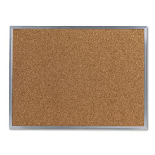 Bulletin Board, Natural Cork, 24 x 18, Satin-Finished Aluminum Frame. Picture 1
