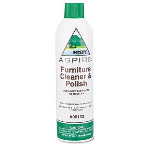 Aspire Furniture Cleaner & Polish, Lemon Scent, 16oz Aerosol. Picture 1