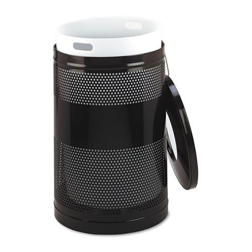 Classics Perforated Open Top Receptacle, Round, Steel, 51 gal, Black. Picture 2