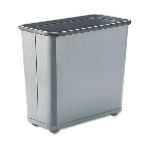 Fire-Safe Wastebasket, Rectangular, Steel, 7.5 gal, Gray. Picture 1
