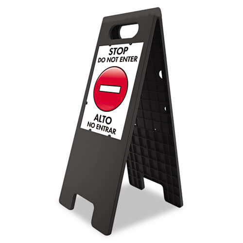 """Floor Tent Sign, Doublesided, Plastic, 10 1/2"""" x 25 1/2"""", Black. Picture 1"""