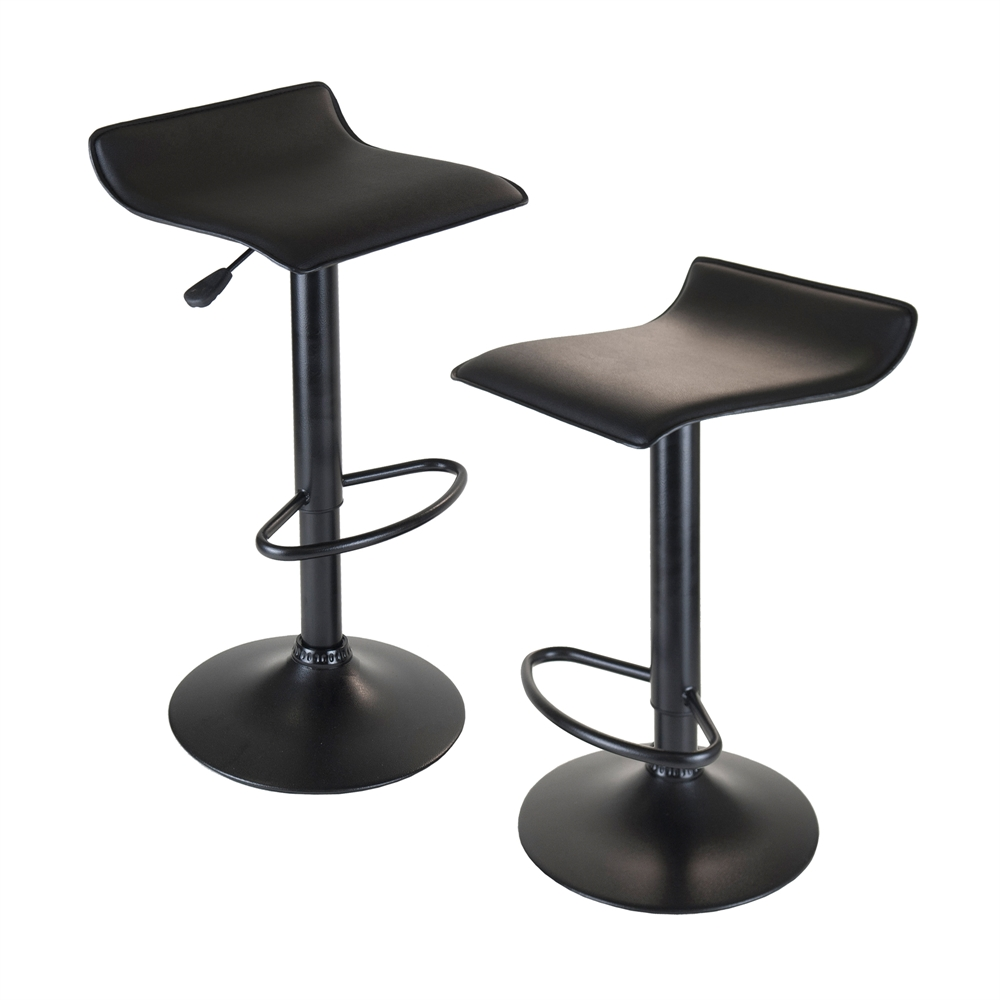 Obsidian Set of 2 Adjustable Swivel Air Lift Stool, Backless, Black PVC Seat, Black Metal Post and Base. Picture 1