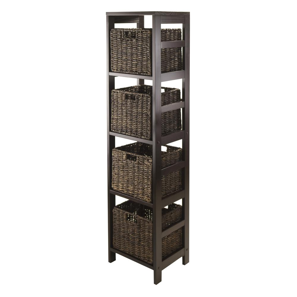 Winsome Wood Granville 5Pc Storage Tower Shelf With 4 Foldable Baskets