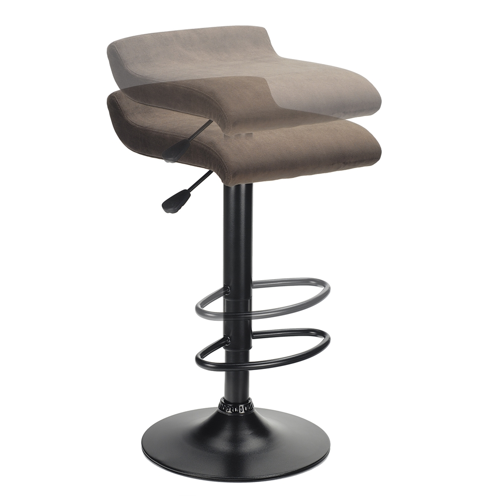 Marni Air Lift Stool, Micro Fiber Seat Top, Black and Stain Finish. Picture 2