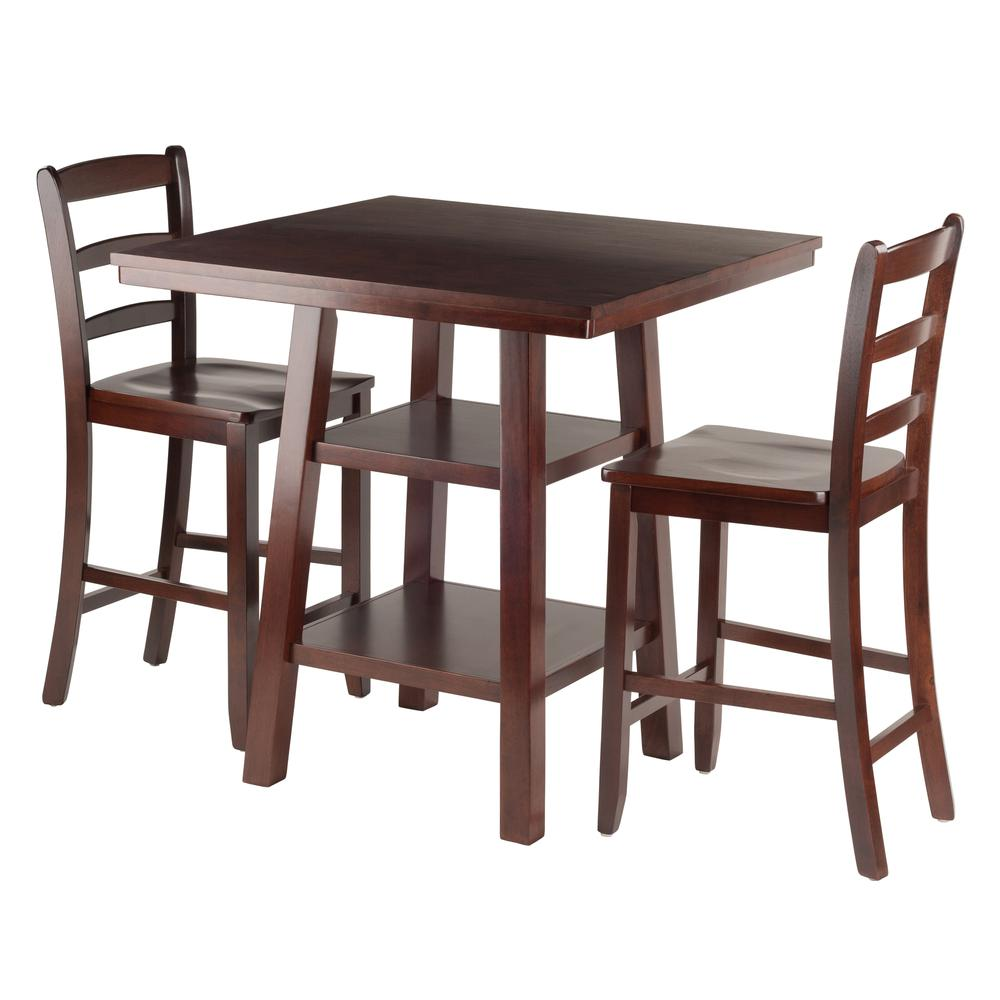 Orlando 3-Pc Set High Table, 2 Shelves w/ 2 Ladder Back Stools. Picture 1