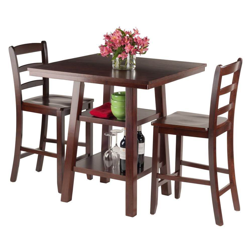 Orlando 3-Pc Set High Table, 2 Shelves w/ 2 Ladder Back Stools. Picture 2