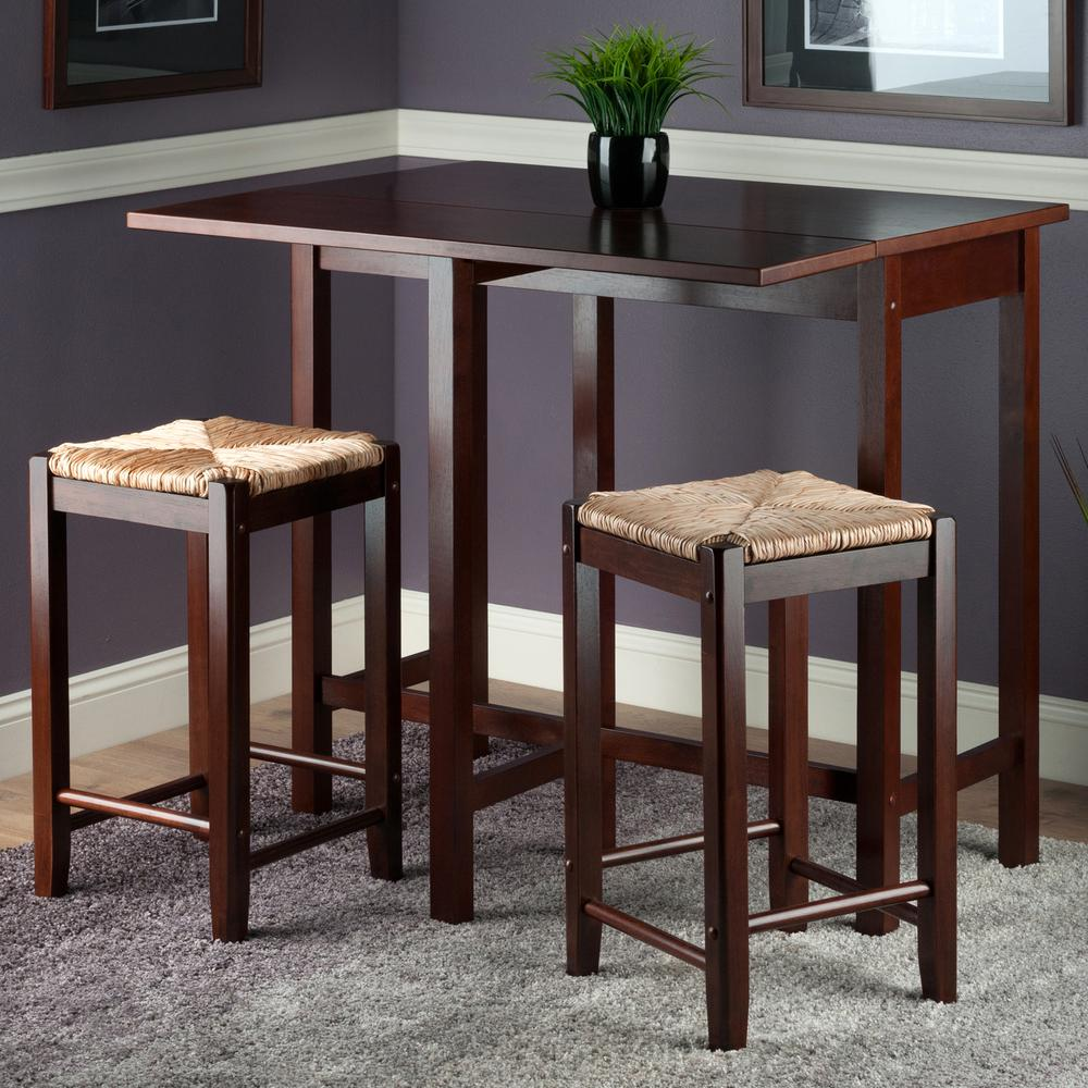 Lynwood 3-Pc Drop Leaf Table with Rush Seat Stool. Picture 3