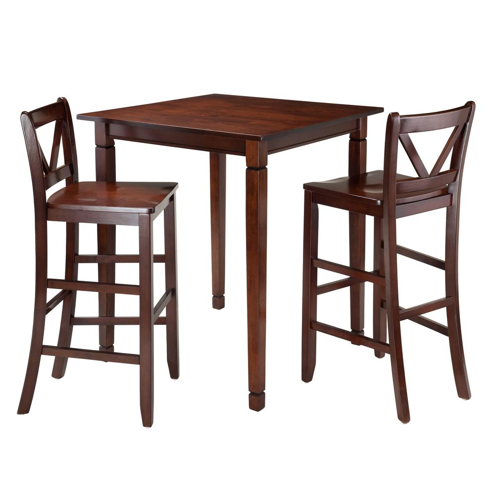 Kingsgate 3-Pc Dining Table with 2 Bar V-Back Chairs. Picture 1