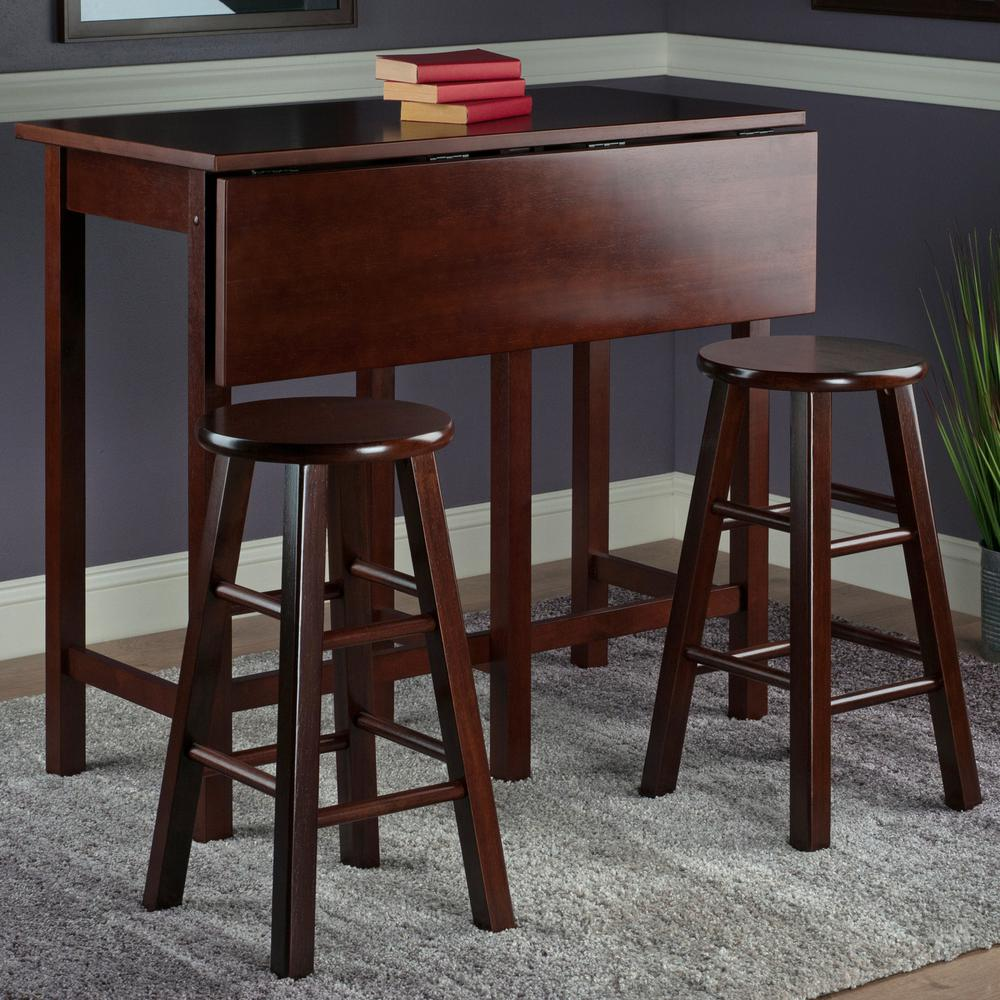 Lynnwood Drop Leaf Island Table With 2 Square Legs Stool