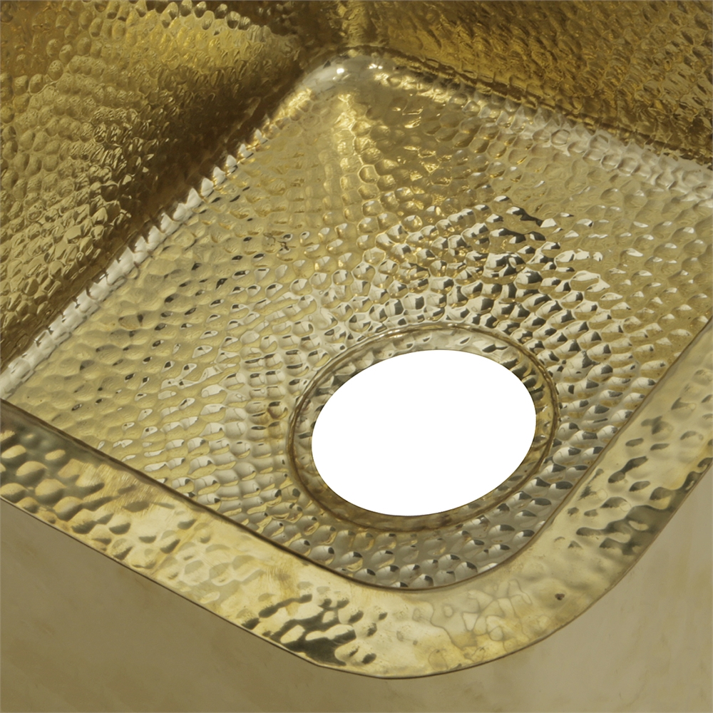 Sqrb 7 16 625 Inch Hammered Brass Square Undermount Bar Sink