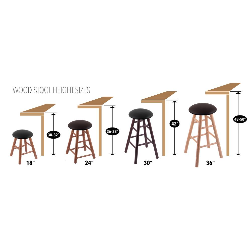 "Oak Round Cushion 36"" Swivel Extra Tall Bar Stool with Smooth Legs, Natural Finish, and Black Vinyl Seat. Picture 2"