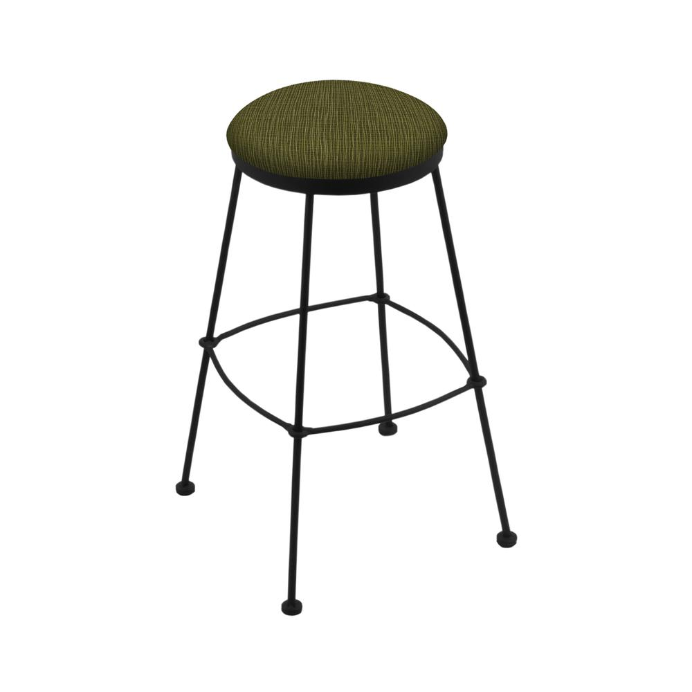 """3030 30"""" Stationary Bar Stool with Black Wrinkle Finish and Graph Parrot Seat. Picture 1"""