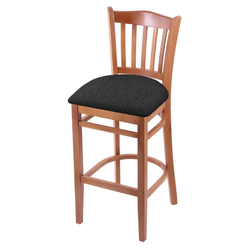 """3120 30"""" Bar Stool with Medium Finish and Graph Coal Seat. Picture 1"""