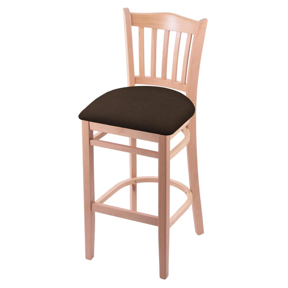 """3120 30"""" Bar Stool with Natural Finish and Rein Coffee Seat. Picture 1"""