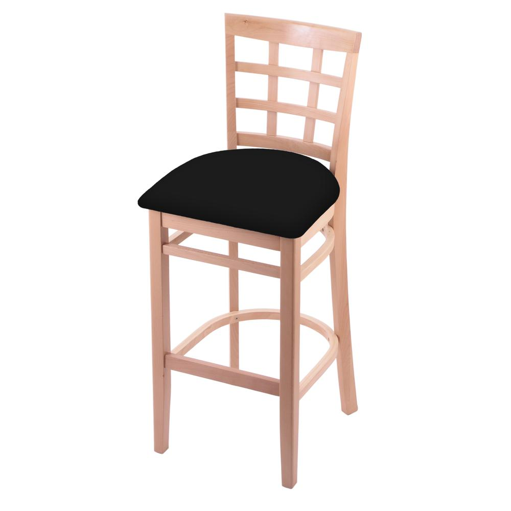 "3130 30"" Bar Stool with Natural Finish and Black Vinyl Seat. Picture 1"
