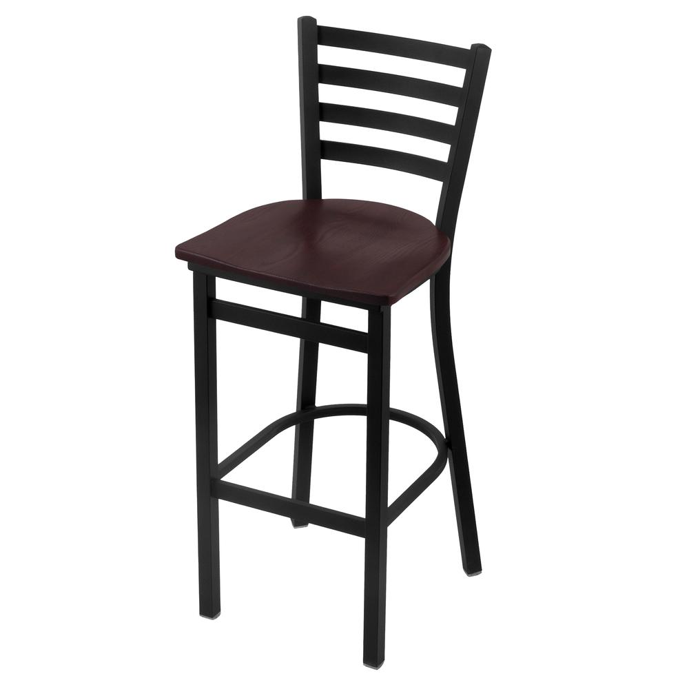 """400 30"""" Stationary Bar Stool with Black Wrinkle Finish and Dark Cherry Oak Seat. Picture 1"""