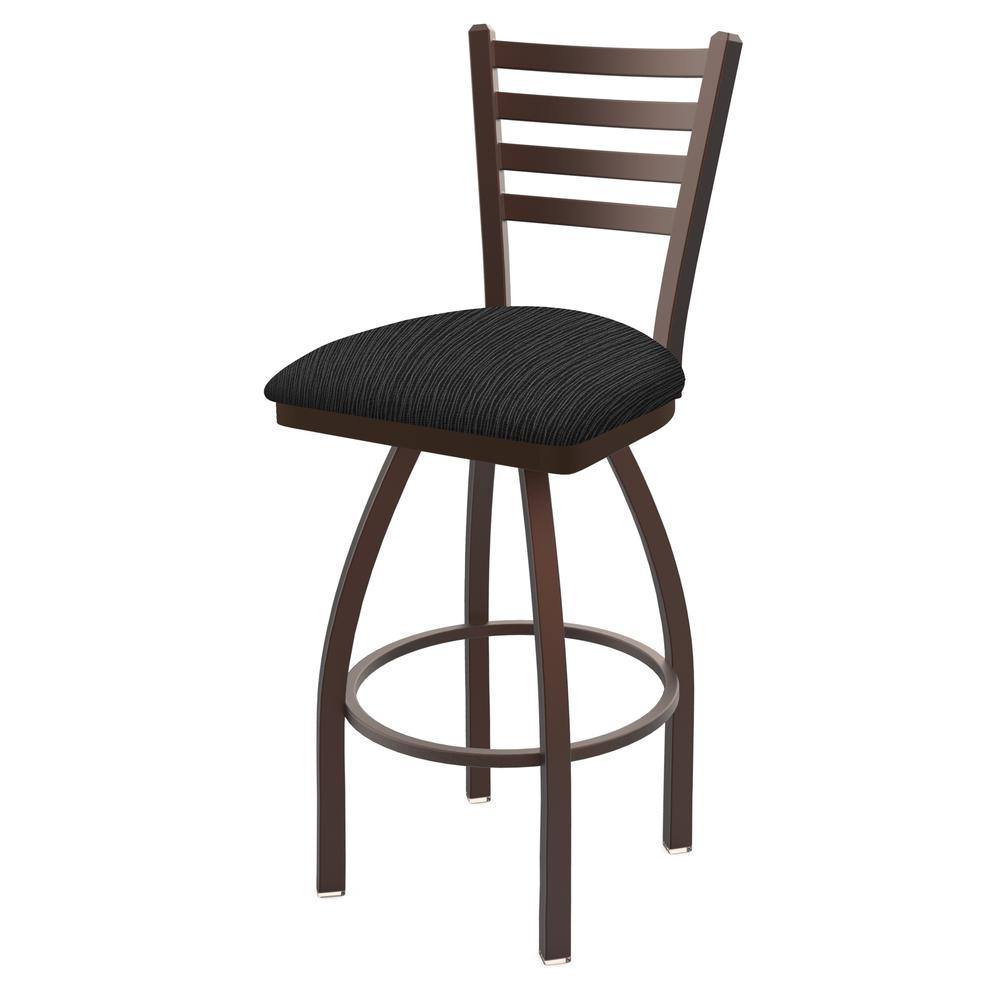 """410 Jackie 30"""" Swivel Bar Stool with Bronze Finish and Graph Coal Seat. Picture 1"""