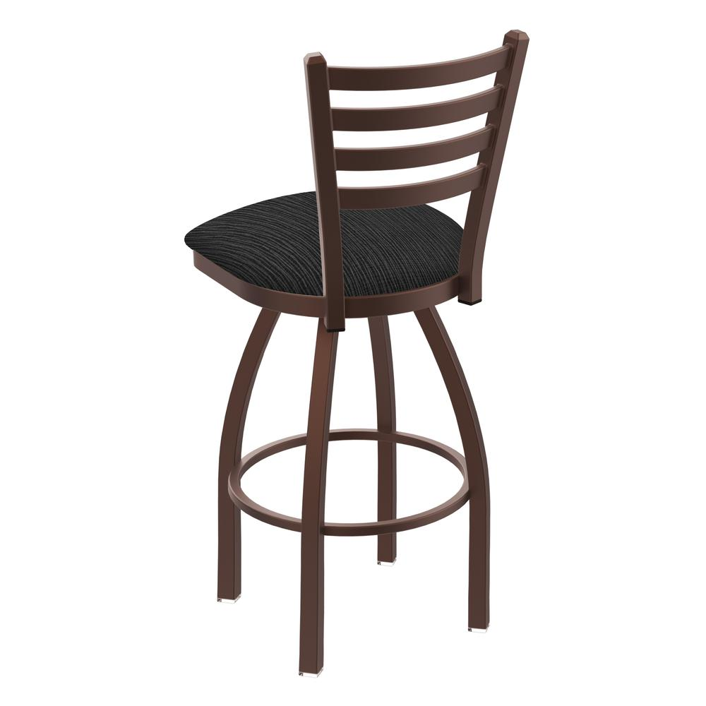 """410 Jackie 30"""" Swivel Bar Stool with Bronze Finish and Graph Coal Seat. Picture 3"""