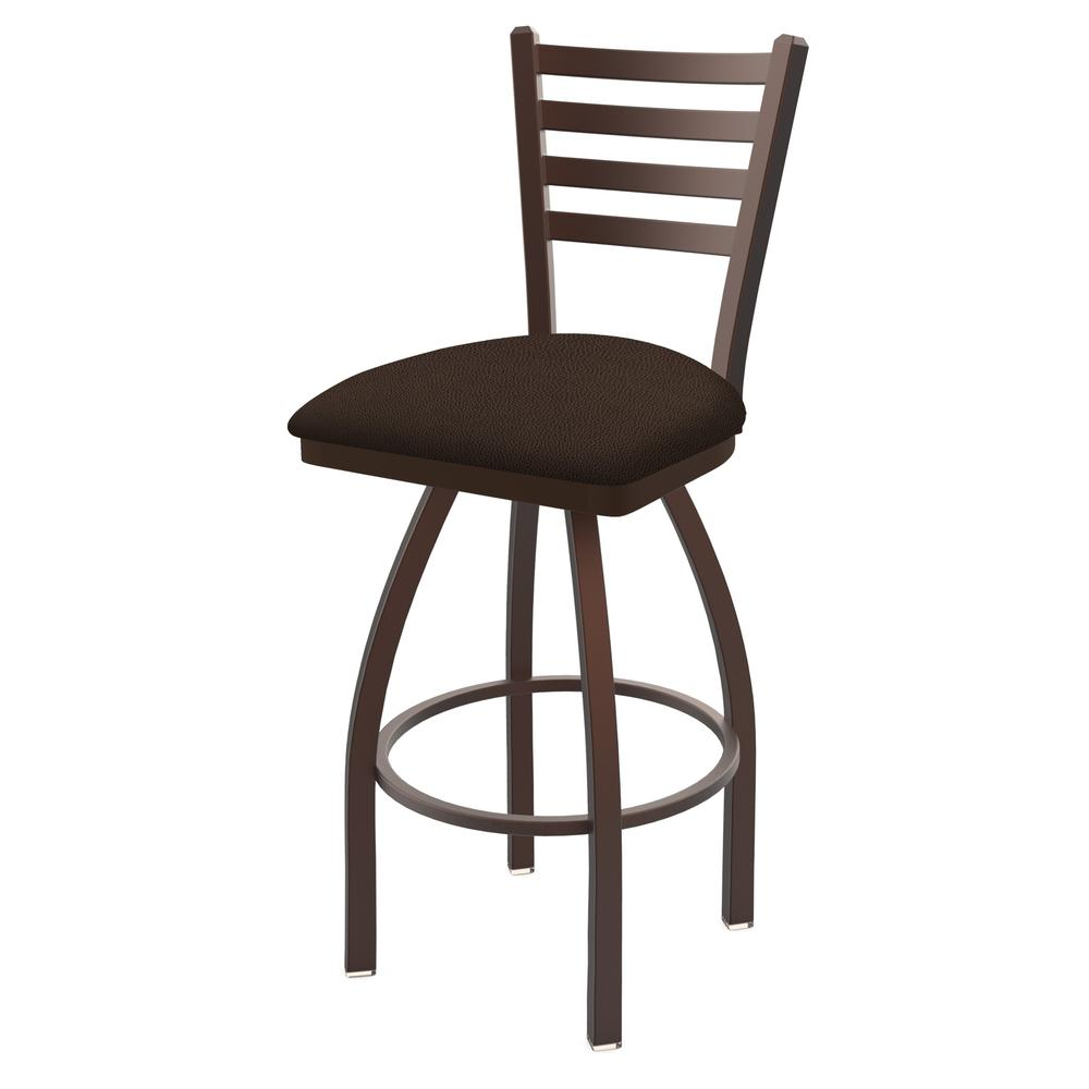 "410 Jackie 30"" Swivel Bar Stool with Bronze Finish and Rein Coffee Seat. Picture 1"
