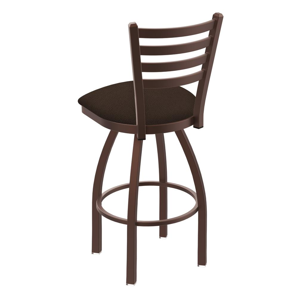 "410 Jackie 30"" Swivel Bar Stool with Bronze Finish and Rein Coffee Seat. Picture 3"