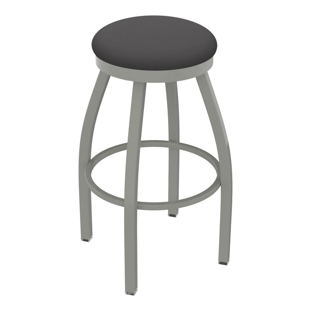 "802 Misha 30"" Swivel Bar Stool with Anodized Nickel Finish and Canter Storm Seat. Picture 1"