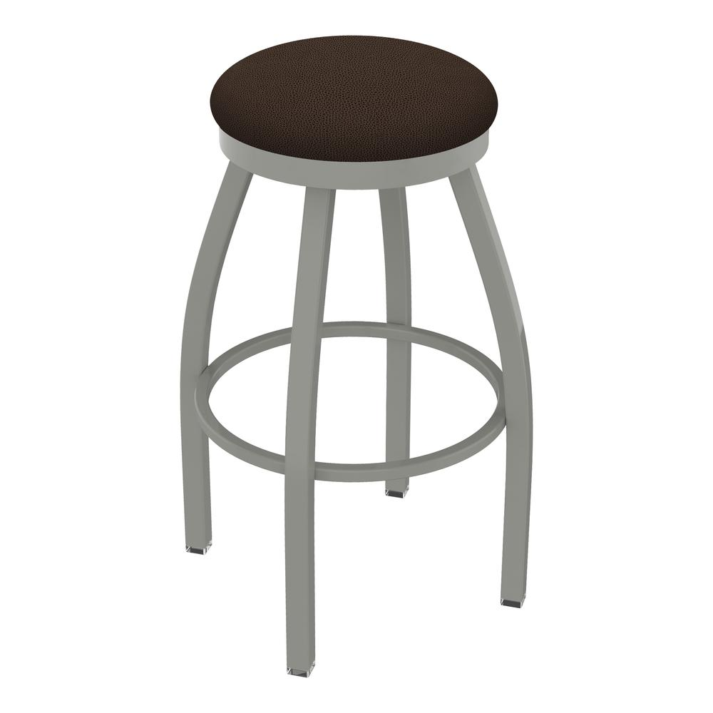 """802 Misha 30"""" Swivel Bar Stool with Anodized Nickel Finish and Rein Coffee Seat. Picture 1"""