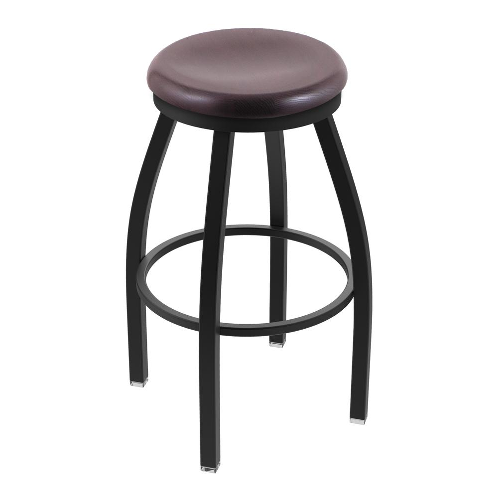 "802 Misha 30"" Swivel Bar Stool with Black Wrinkle Finish and Dark Cherry Oak Seat. Picture 1"