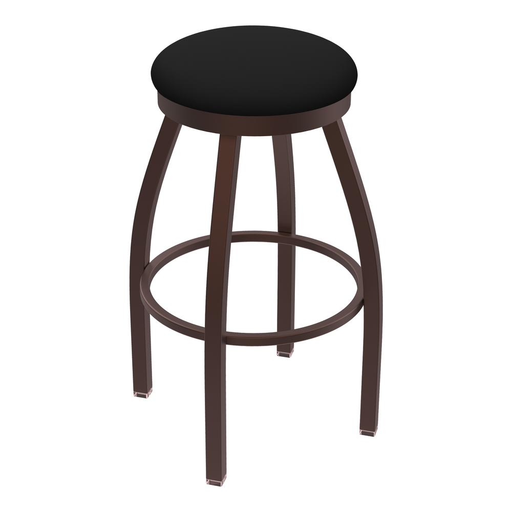 """802 Misha 30"""" Swivel Bar Stool with Bronze Finish and Black Vinyl Seat. Picture 1"""