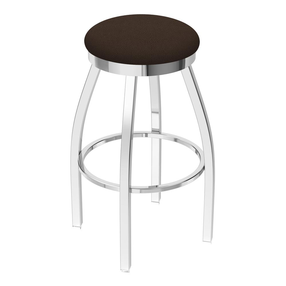 """802 Misha 30"""" Swivel Bar Stool with Chrome Finish and Rein Coffee Seat. Picture 1"""