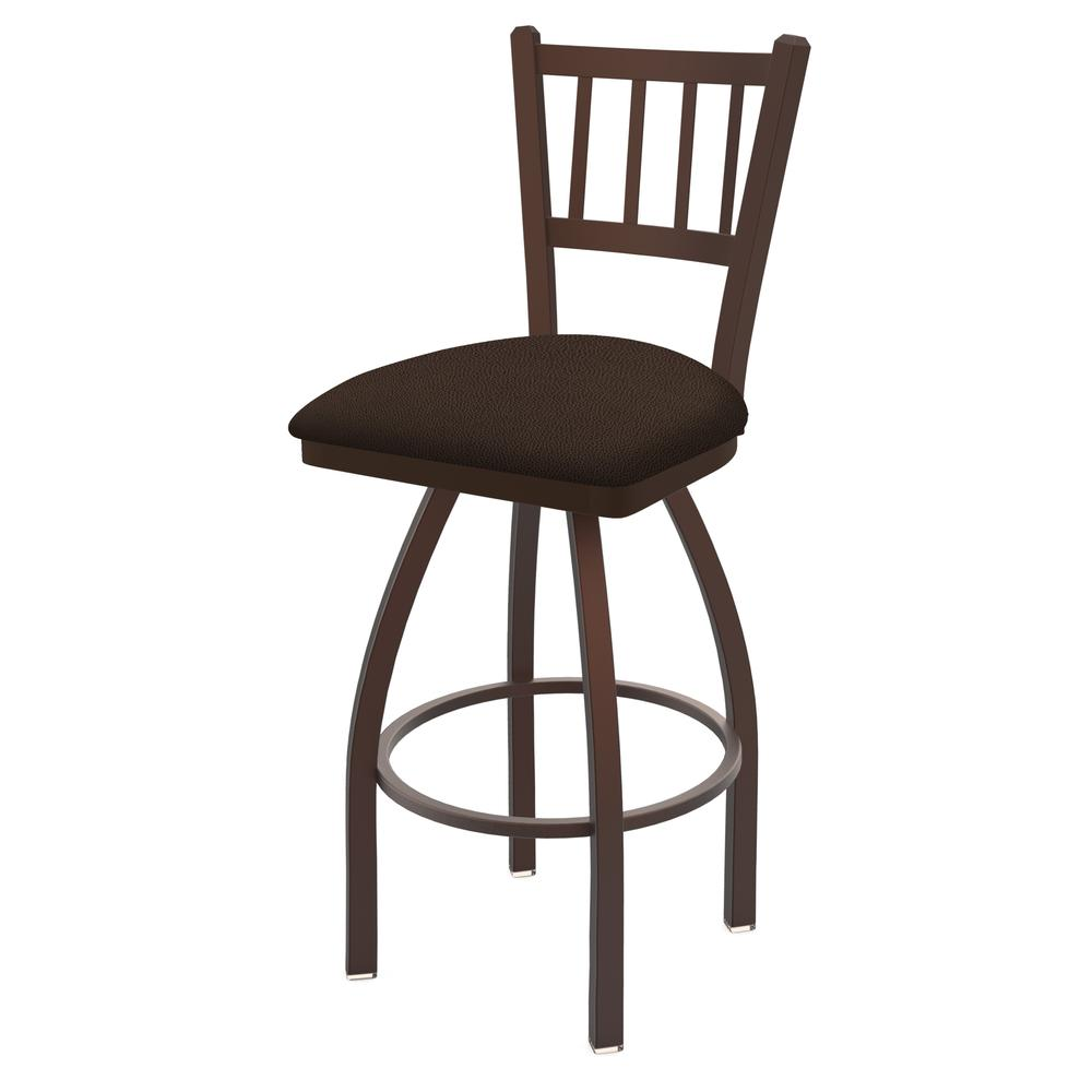"""810 Contessa 30"""" Swivel Bar Stool with Bronze Finish and Rein Coffee Seat. Picture 1"""