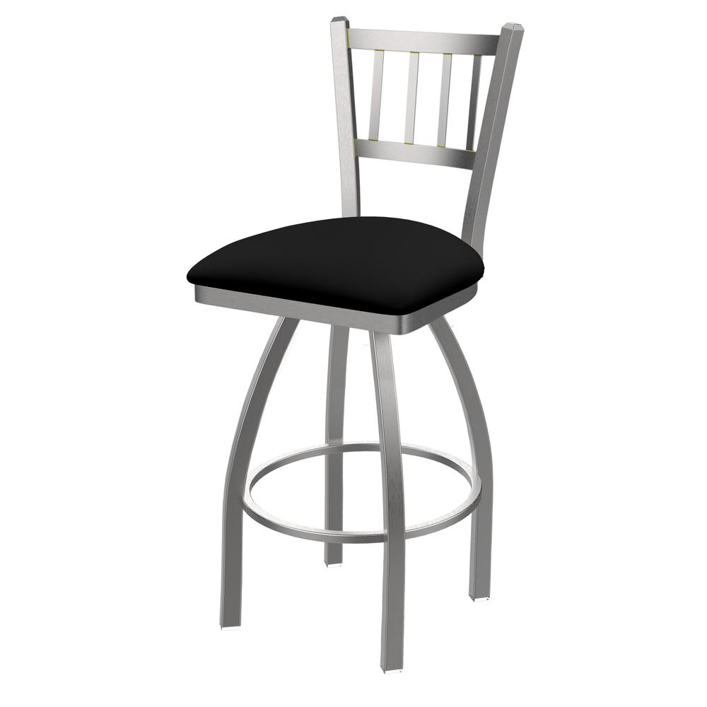 """810 Contessa 30"""" Swivel Bar Stool with Stainless Finish and Black Vinyl Seat. Picture 1"""
