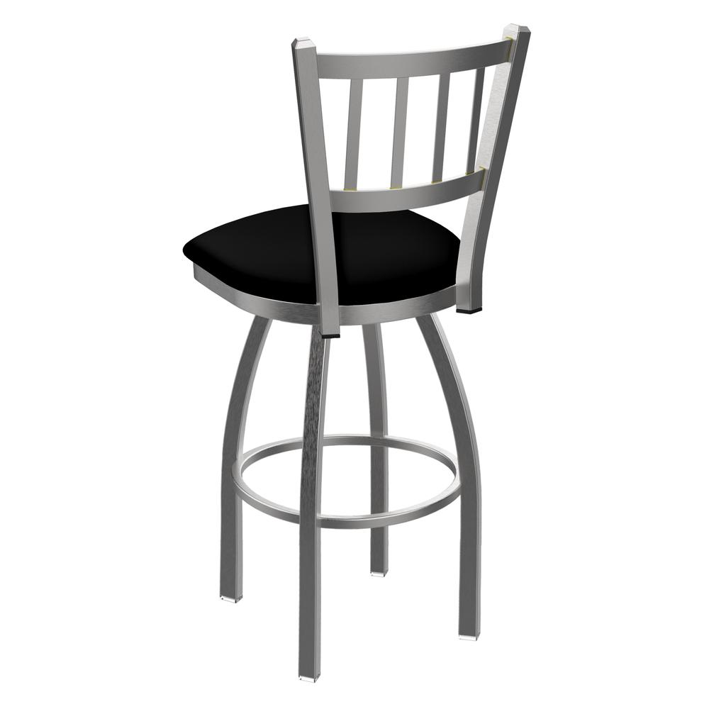 """810 Contessa 30"""" Swivel Bar Stool with Stainless Finish and Black Vinyl Seat. Picture 3"""