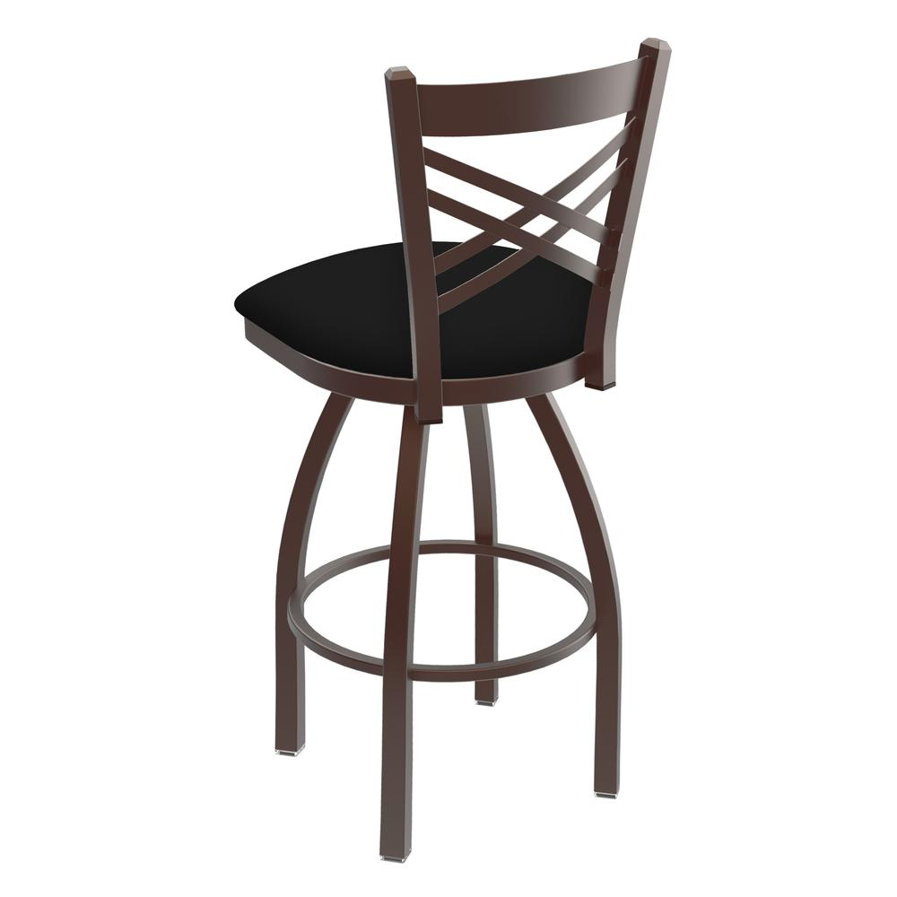"""820 Catalina 30"""" Swivel Bar Stool with Bronze Finish and Black Vinyl Seat. Picture 3"""