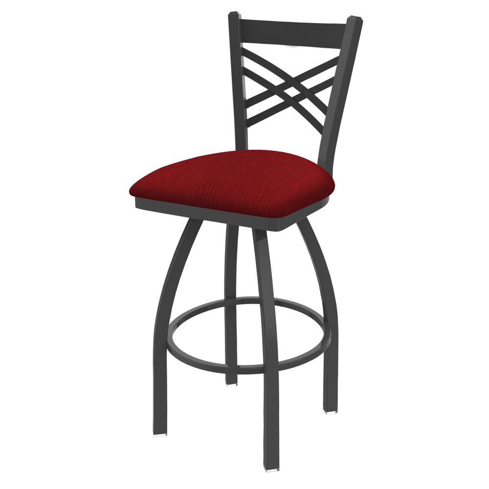"820 Catalina 30"" Swivel Bar Stool with Pewter Finish and Graph Ruby Seat. Picture 1"