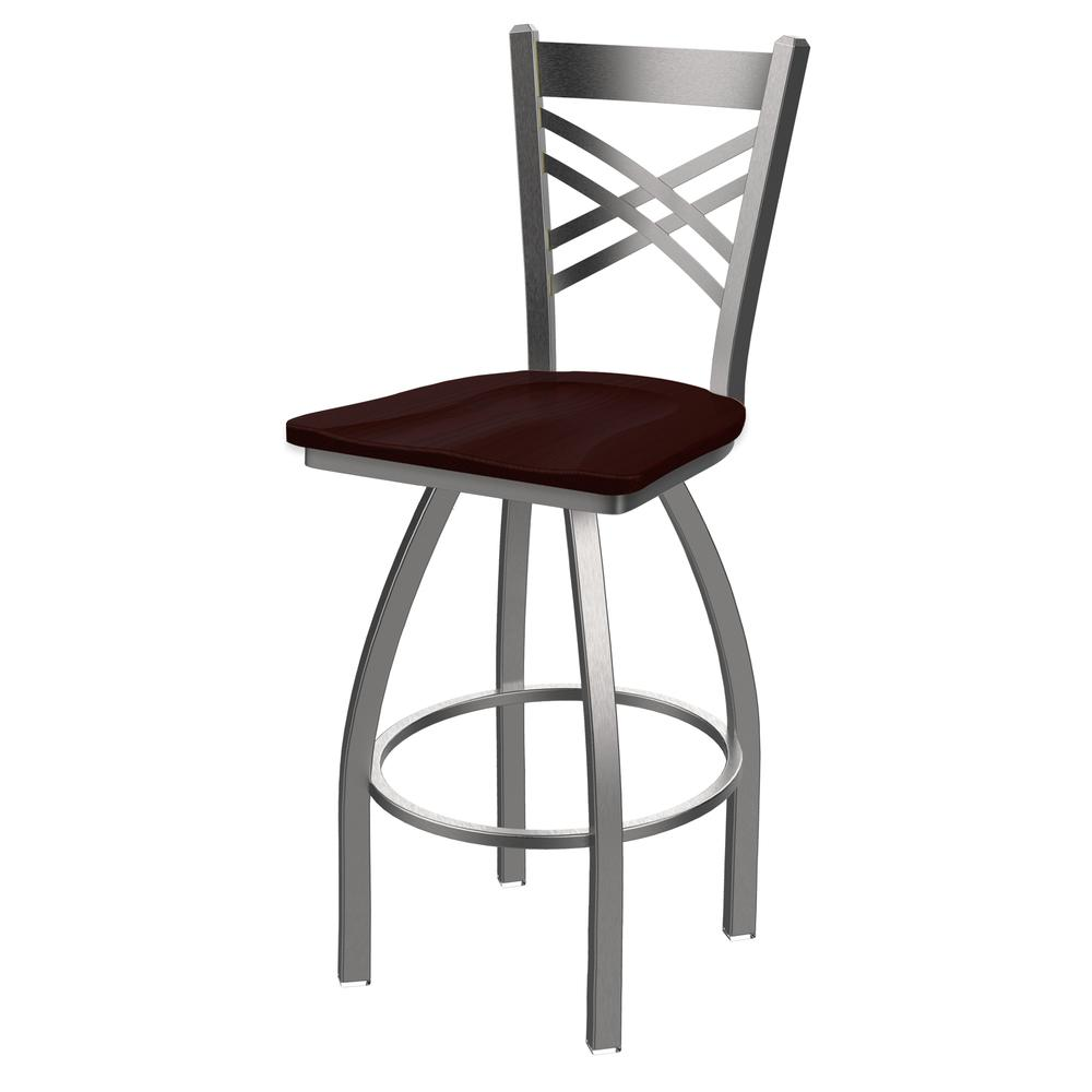 """820 Catalina 30"""" Swivel Bar Stool with Stainless Finish and Dark Cherry Oak Seat. Picture 1"""