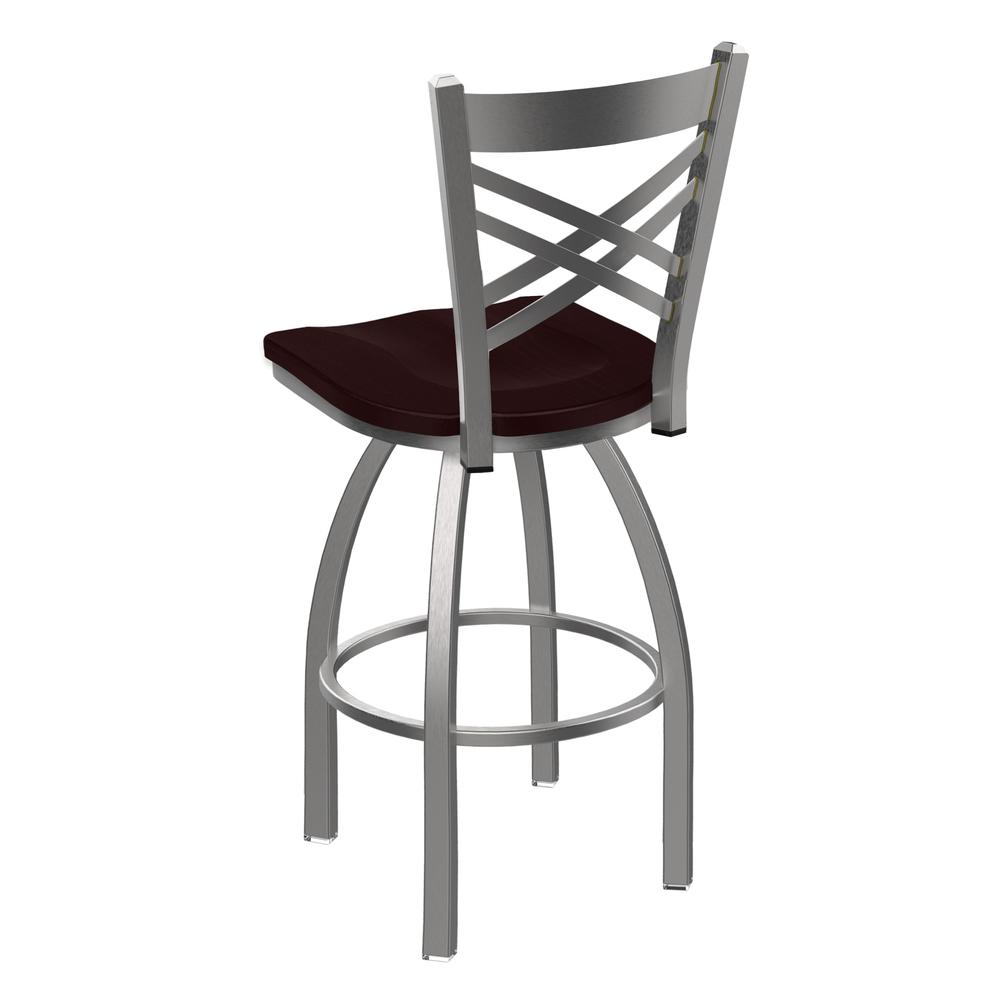 """820 Catalina 30"""" Swivel Bar Stool with Stainless Finish and Dark Cherry Oak Seat. Picture 3"""