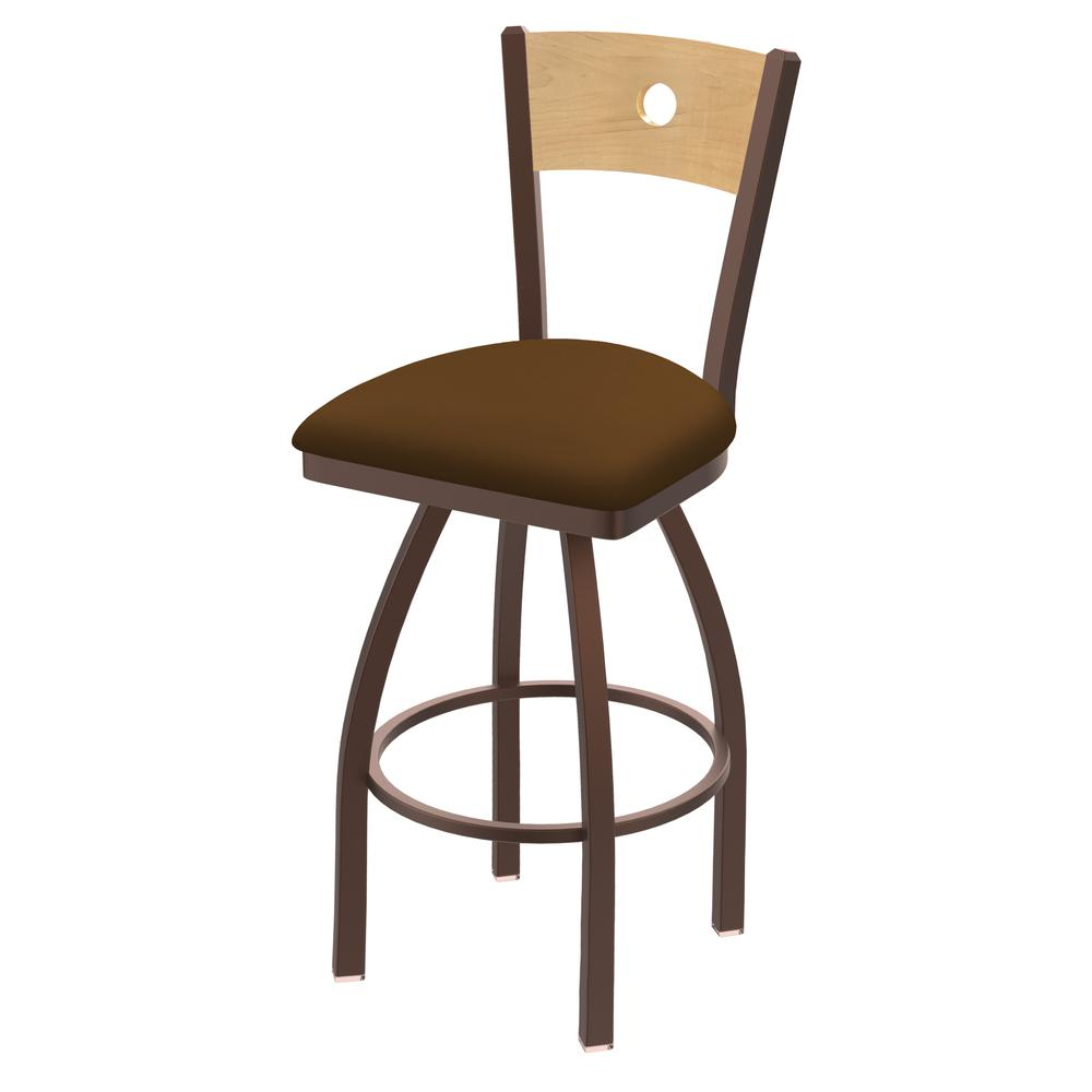 "830 Voltaire 30"" Swivel Counter Stool with Bronze Finish, Natural Back, and Canter Thatch Seat. Picture 1"