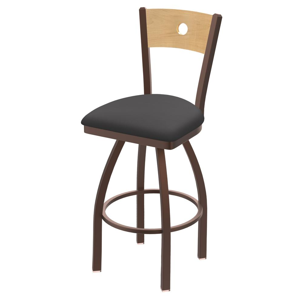 "830 Voltaire 30"" Swivel Counter Stool with Bronze Finish, Natural Back, and Canter Storm Seat. Picture 1"