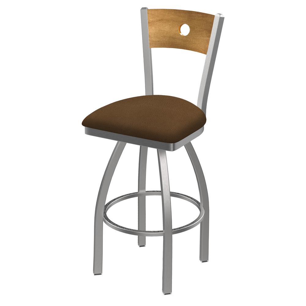 """830 Voltaire 30"""" Swivel Counter Stool with Stainless Finish, Medium Back, and Rein Thatch Seat. Picture 1"""