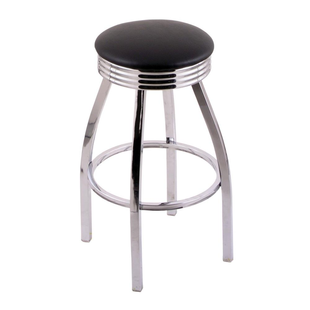 """C8C3C Classic Series 30"""" Bar Stool with Chrome Finish, Ribbed Chrome Accent Ring, Black Vinyl Seat, and 360 swivel. Picture 1"""