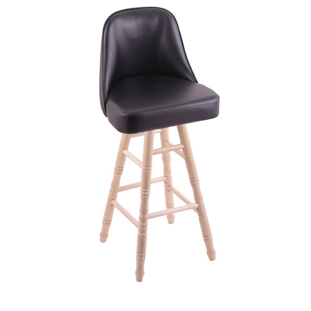 """Grizzly 30"""" Swivel Bar Stool with Turned Maple Legs, Natural Finish. Picture 1"""