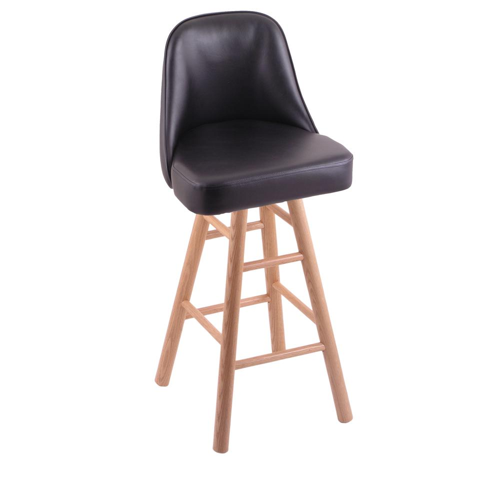 """Grizzly 30"""" Swivel Bar Stool with Smooth Oak Legs, Natural Finish. Picture 1"""