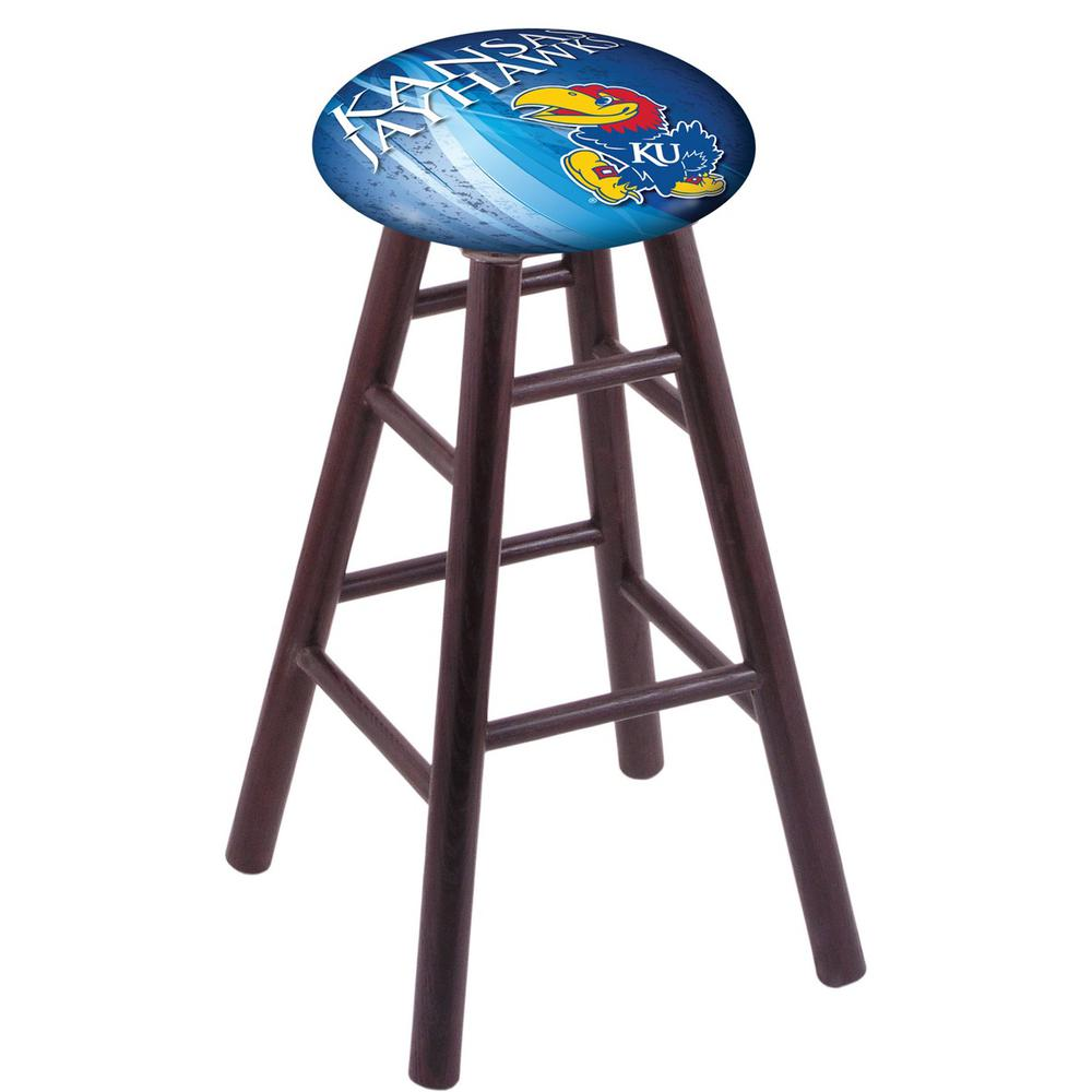 Oak Counter Stool in Dark Cherry Finish with Kansas Seat. Picture 1