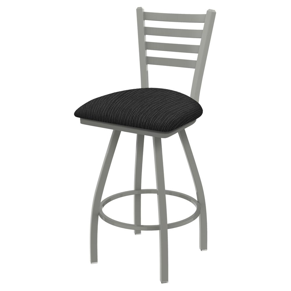 """XL 410 Jackie 30"""" Swivel Bar Stool with Anodized Nickel Finish and Graph Coal Seat. Picture 1"""