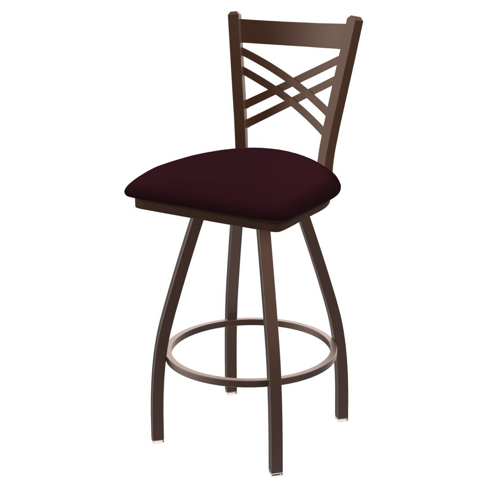 "XL 820 Catalina 25"" Swivel Counter Stool with Bronze Finish and Canter Bordeaux Seat. Picture 1"