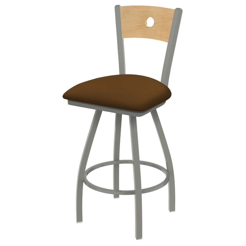 "XL 830 Voltaire 25"" Swivel Counter Stool with Anodized Nickel Finish, Natural Back, and Canter Thatch Seat. Picture 1"