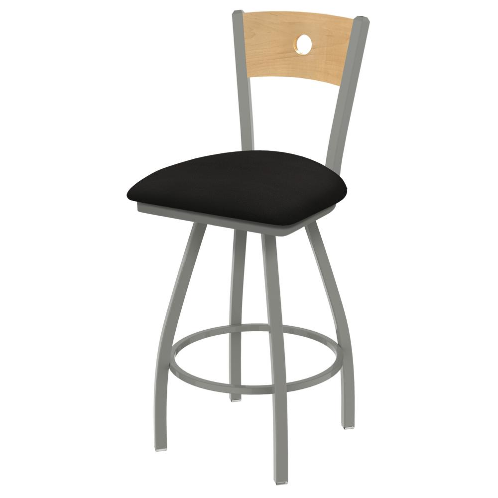 "XL 830 Voltaire 25"" Swivel Counter Stool with Anodized Nickel Finish, Natural Back, and Canter Espresso Seat. Picture 1"